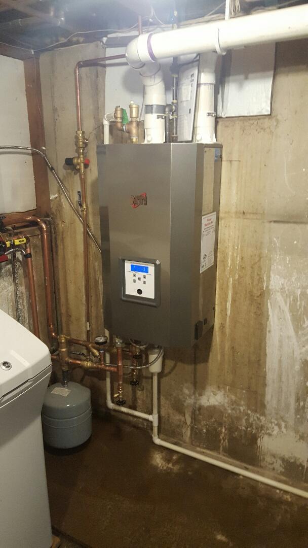 Stoughton, WI - Installed new NTI VMAX 110 boiler.