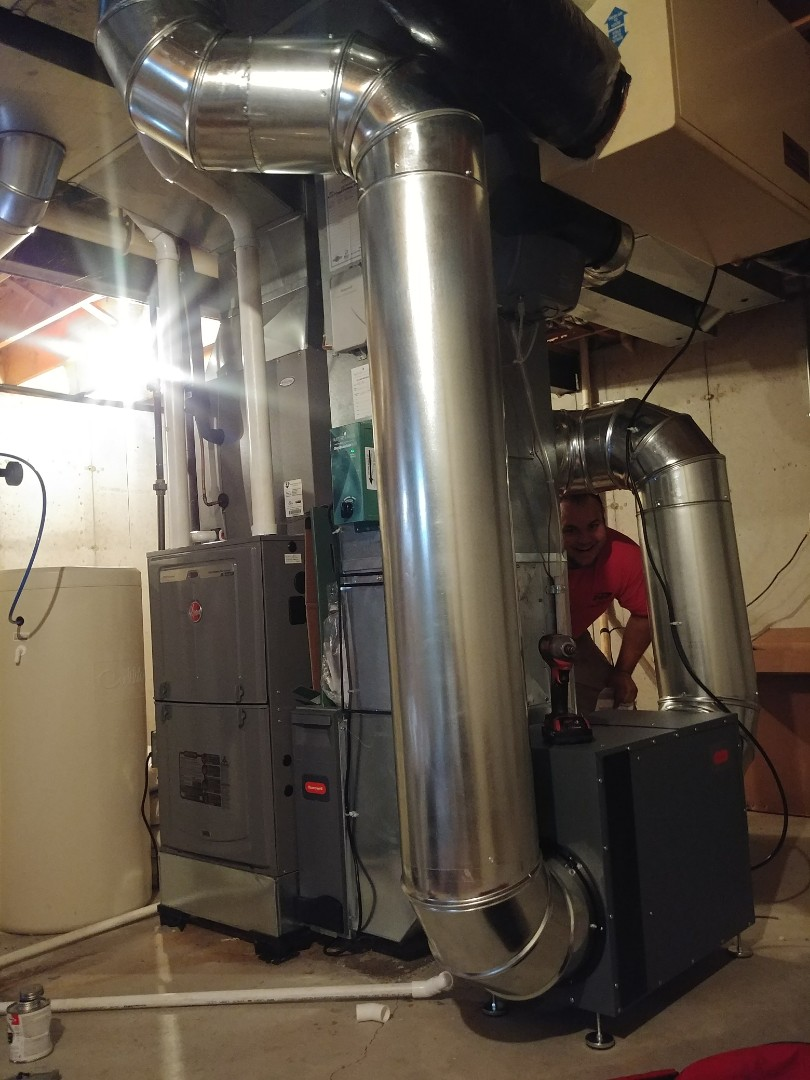 Janesville, WI - Install new furnace and a.c. and humidifier rheem unit dehumidifier uve light water heater and furnace and a.c. and humidifier rheem unit dehumidifier