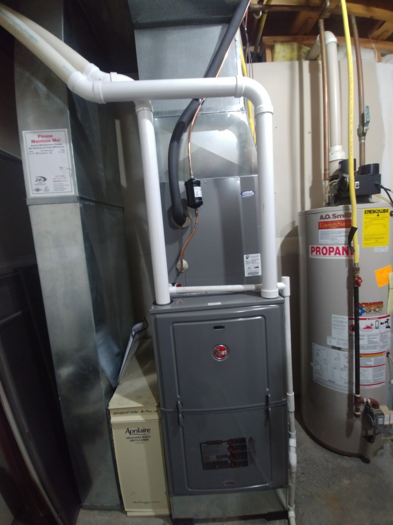 Wisconsin Dells, WI - Install new furnace and a.c. and humidifier rheem unit dehumidifier uve light water heater and furnace and a.c. and humidifier rheem unit dehumidifier uve light water heater