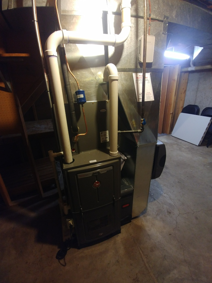 Sun Prairie, WI - Install new furnace and a.c. and humidifier rheem unit dehumidifier uve light water heater rheem Honeywell, WiFi connected devices