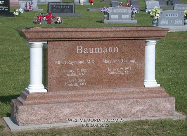 Cuba, MO - The Baumann memorial is located in Holy Cross Cemetery - Cuba, MO