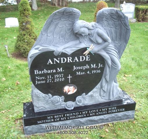 Greenport, NY - The Andrade memorial is a black granite angel heart design with a bronze dragonfly attached.