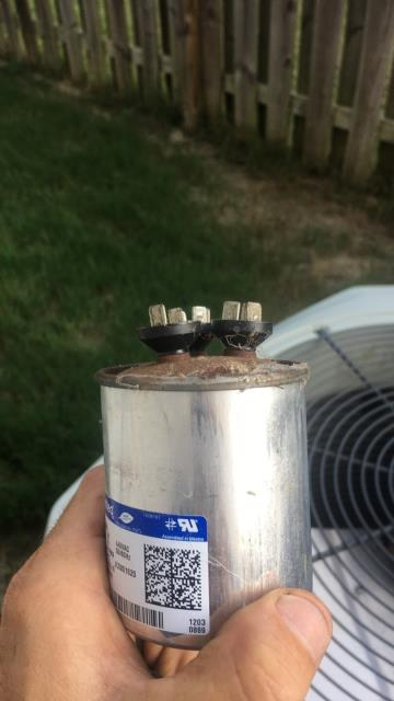Gardendale, AL - I arrived to find a bad capacitor on fan side. I replaced and tested system. Pressures were good given 97 degree inside and 84 outside. System functions properly at this time. 