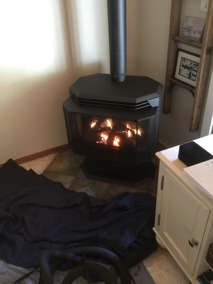 Burlington, WA - Gas stove fireplace install in Burlington, WA.