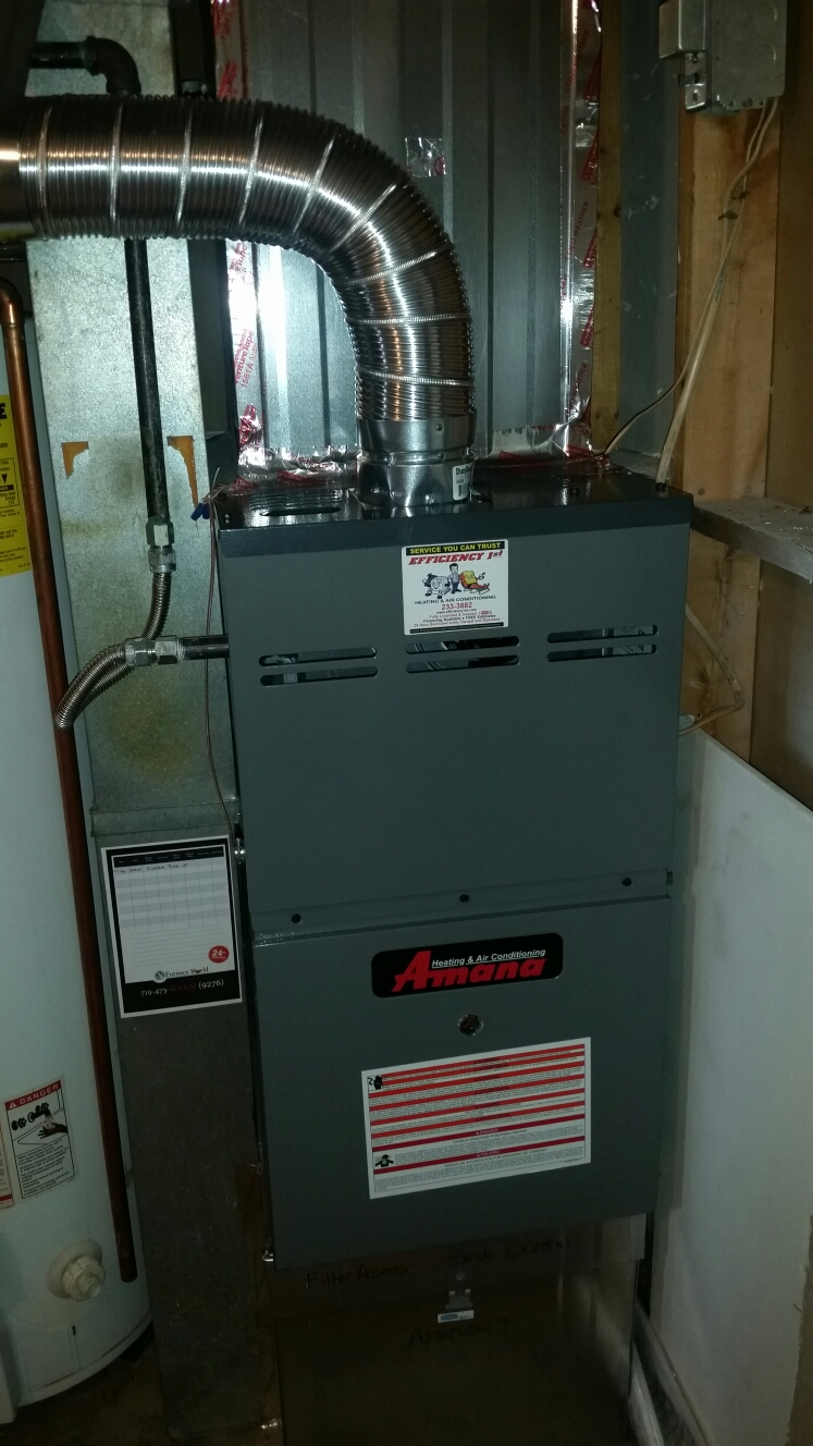 Fountain, CO - Furnace maintenance service call. Performed tune up on Amana furnace.