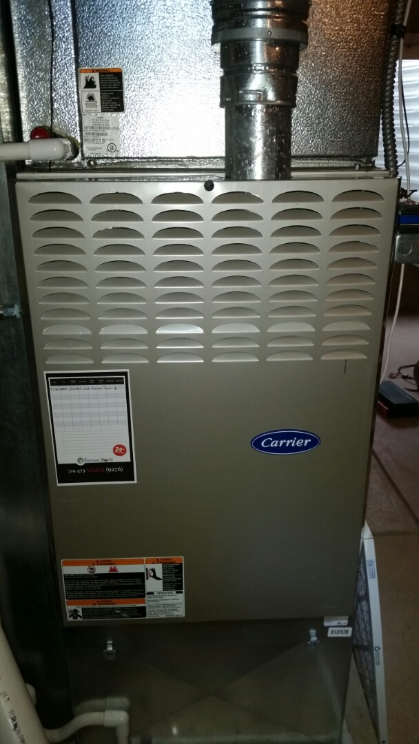Peyton, CO - Furnace maintenance service call. Performed tune up on Carrier furnace.