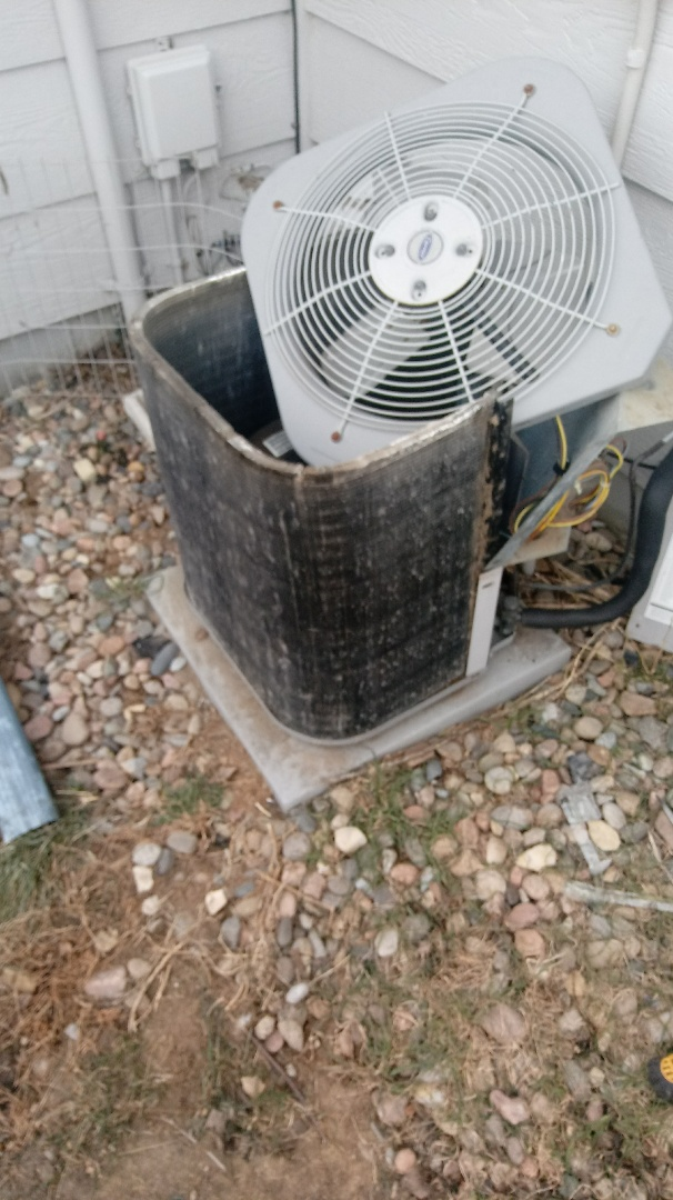 Colorado Springs, CO - Fin combing completed on hail damaged Carrier Air Conditioner.