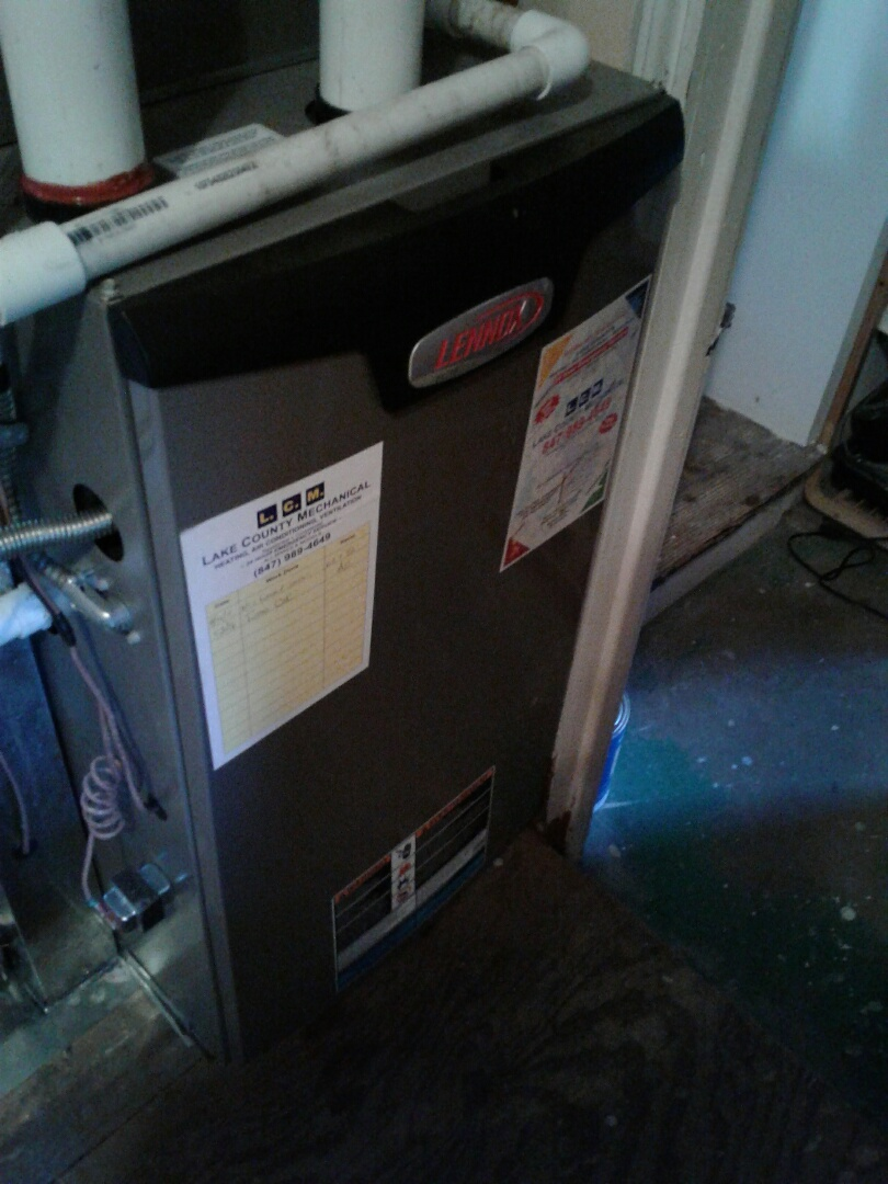 Lake Villa, IL - Furnace inspection on Lennox