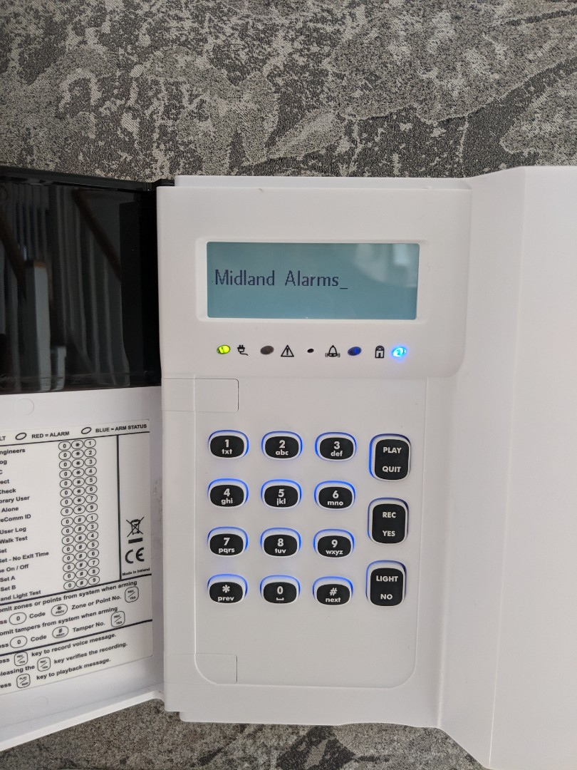 Service and battery change for a Hkc quantum alarm system