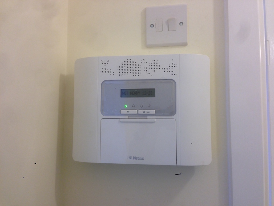 Moreton-in-Marsh, Gloucestershire - First job of the day complete. Having installed the alarms for Cala some time ago, the customer has just had a GSM unit fitted, this will text him if either there is a problem with the alarm or if the alarm Is triggered. It also means if he has any questions or issues, we can log into the panel, check it out and make any changes required. If only we could replace batteries remotely.