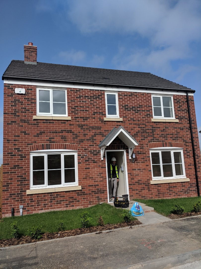 Installing a new Hkc quantum alarm system for Persimmon Homes at wyre meadows
