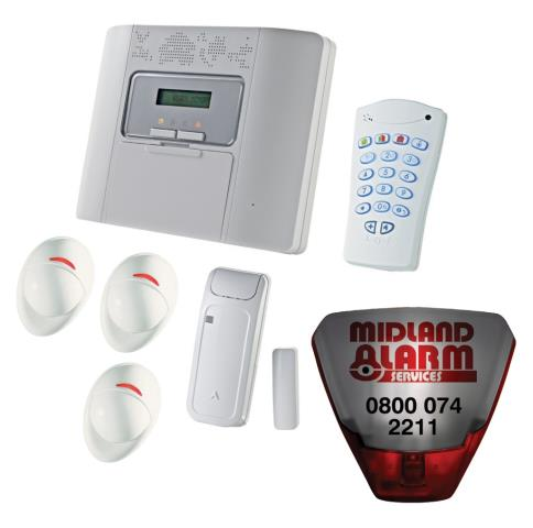 Remote reset for wireless alarm system originally installed by Midland Alarm Services for Cala Homes on a site in Pebworth Worcestershire.