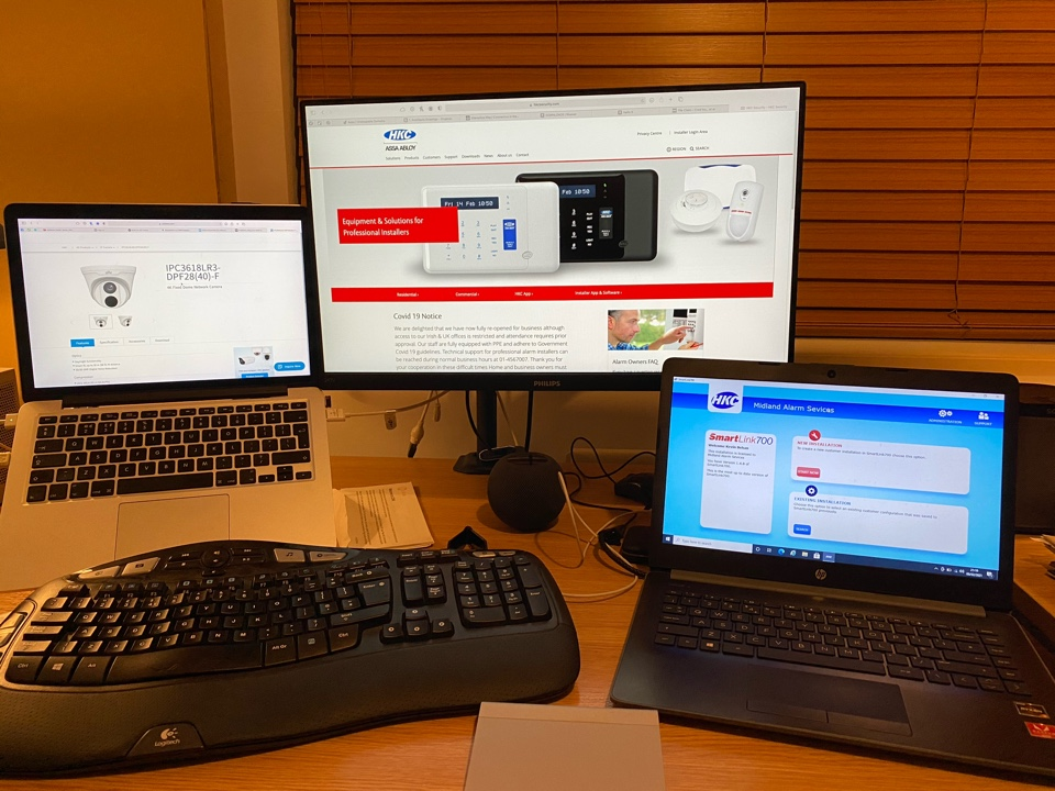 Banbury, Oxfordshire - Whilst I am out on the road installing during the day, I often come home to offer technical support to our customers. This evening was getting a customer back online (alarm and CCTV) after he changed his Wi-fi. The newly set up home office setup should help with that.