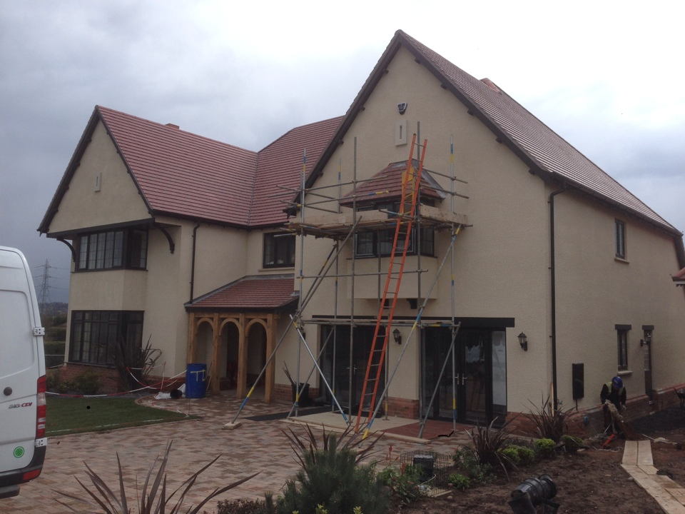 Completion of a Visonic Power Master 30 intruder alarm for a large Cala Homes house on a small 8 house development. The scaffold only went so high, don't ask how I got the rest of the way up there.