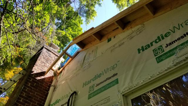 Westport, CT - Burr's skilled crew is bringing depth to this Westport home with architectural upgrades! We are replacing both the roof and siding using products from both CertainTeed and James Hardie. We are also building out fly rafters to give this home dimension.