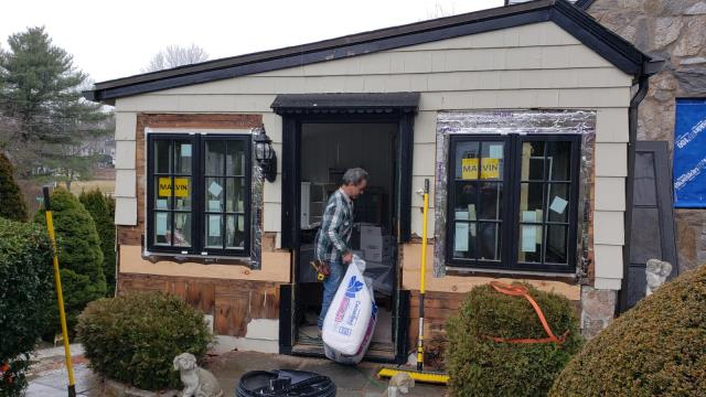 Norwalk, CT - Mid Marvin install in Westport! John and Brian are replacing 29 existing windows with Marvin products while our siding crew installs James Hardie clapboard.
