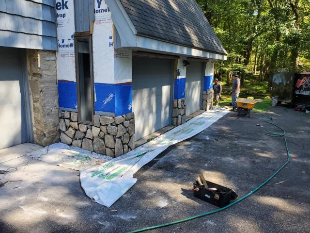 Stratford, CT - Beautiful masonry progress in Stratford! This is part of a full exterior remodel. Next, the siding crew will replace the existing siding with Maibec shingles in a custom color.