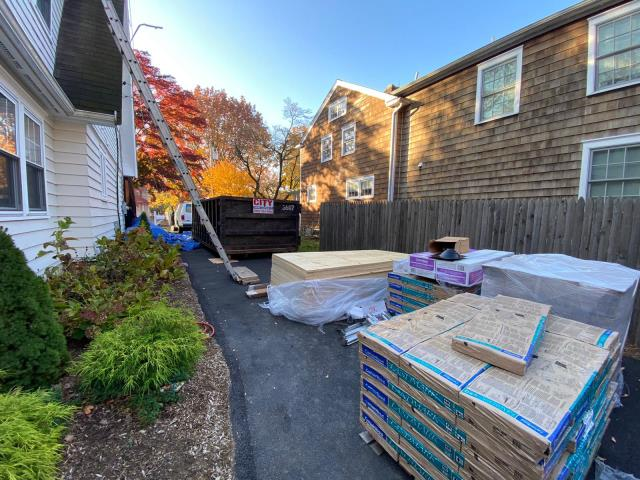 Stamford, CT - CertainTeed roofing materials are ready for an efficient install here in Stamford, CT. We are installing Landmark shingles in Heather Blend to replace the existing failing roof.