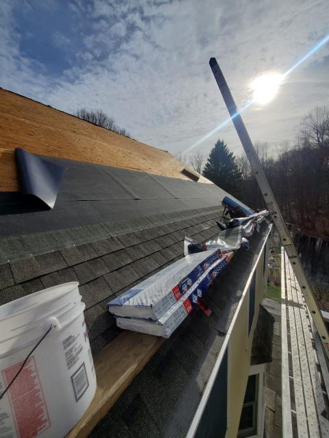 Wilton, CT - In progress in Wilton, CT! This past customer called the Burr team once he started to experience a roof leak. Luckily, our team was ready to get to work! We are installing GAF Timberline HD shingles in Weatherwood.