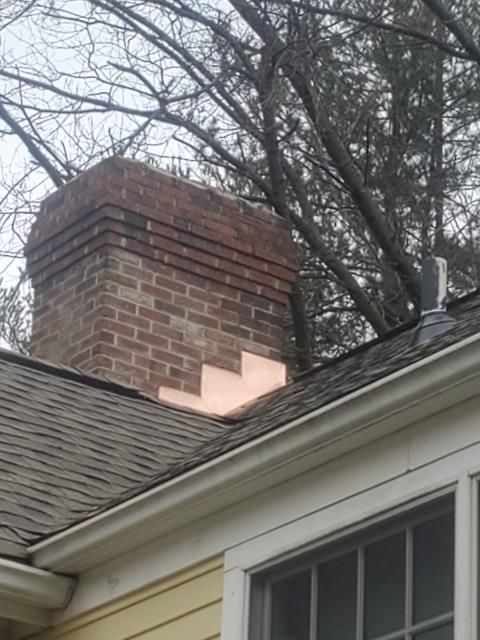 Wilton, CT - New chimney flashing in Wilton, CT to wrap up this full roof replacement featuring CertainTeed Landmark Pro shingles.