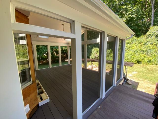 Weston, CT - Screen porch in Wilton is getting closer and closer to completion each day. We've recently installed AZEK decking in Dark Hickory.