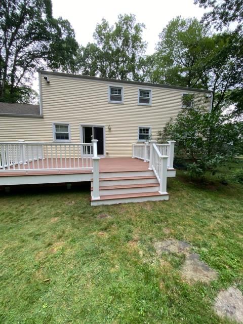 Trumbull, CT - Almost complete here in Trumbull! We've installed AZEK Vintage decking with premier railings and expanded their outdoor entertainment space.