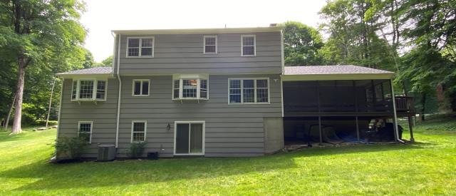 Trumbull, CT - These homeowners will soon be getting a deck right under their kitchen bay window. We will be building a 24' by 14' AZEK deck in Vintage Coastline complete with Marvin Elevate French doors. Talk about added entertainment and living space!
