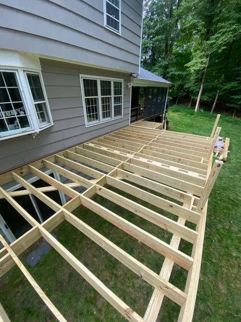 Trumbull, CT - The foundation has been set for this 24' by 14' AZEK deck in Vintage Coastline here in Trumbull.