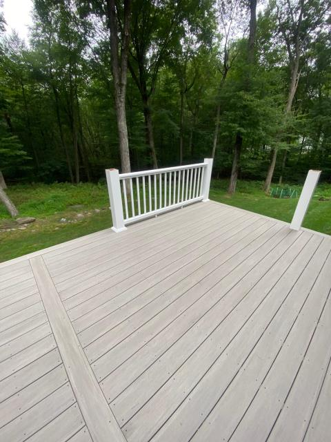 Trumbull, CT - In-progress shot of this new deck in Trumbull! This deck features AZEK decking in Coastline from their Vintage Collection and premier railings.