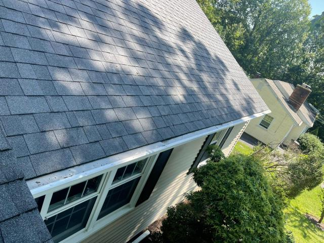 Stamford, CT - Gorgeous new Asphalt Shingle roof in Stamford! We were able to repair damage from a recent storm by installing CertainTeed LandmarkPro in Pewterwood.
