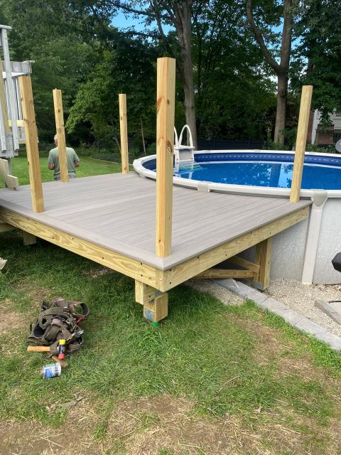 New Canaan, CT - In-progress update here in New Canaan. This deck is coming along great with AZEK decking in Coastline from their vintage collection. These capped polymer boards are moisture resistant which is perfect for a deck right off the pool!