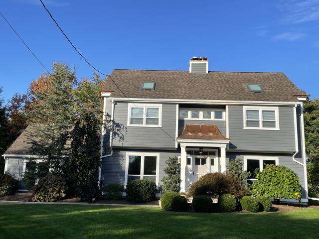 Shelton, CT - Final exterior make-over here in Shelton with beautifully installed James Hardie fiber cement siding in Iron Gray! The homeowners are thrilled with the results and were excited to learn of the 30-year warranty James Hardie provides for peace of mind for years to come!