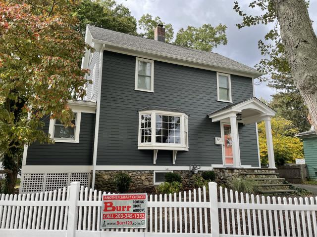Fairfield, CT - Take a look at the final results of a James Hardie make-over here in Fairfield. This transformation features siding in Iron Gray. These homeowners are thrilled with the outcome and the entire remodel process.