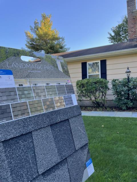 Fairfield, CT - Sometimes deciding what color roof you want can be tricky. Thankfully, CertainTeed makes individual boards with a small unit of the singles to help guide you in your decision. Be sure to look at the samples in the sunlight for the best representation of the color and appearance.