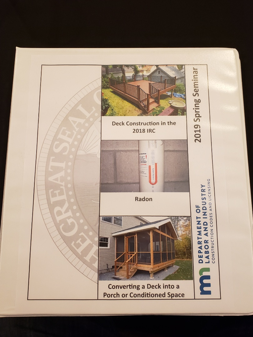 Burnsville, MN - Updated deck construction. continuing education on,  Green treated decks, Cedar decks and composite decking.  Course is covering deck fasteners, deck footings and diamond peers.