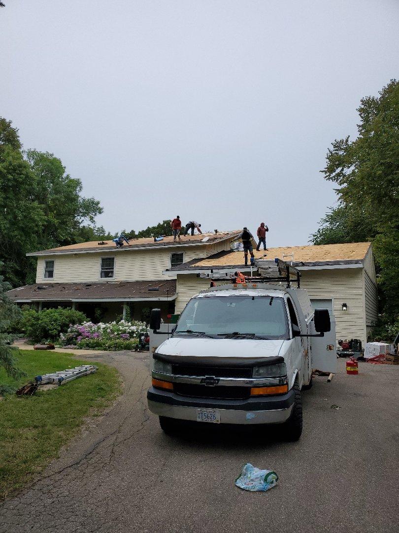 New Prague, MN - Brand new certainteed Northgate impact resistant roof job in progress.