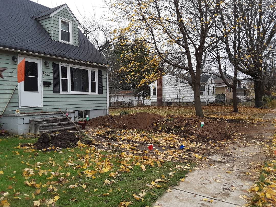 Sycamore, IL - Installed new sewage line from house to city main and installed 4 inch cleanouts