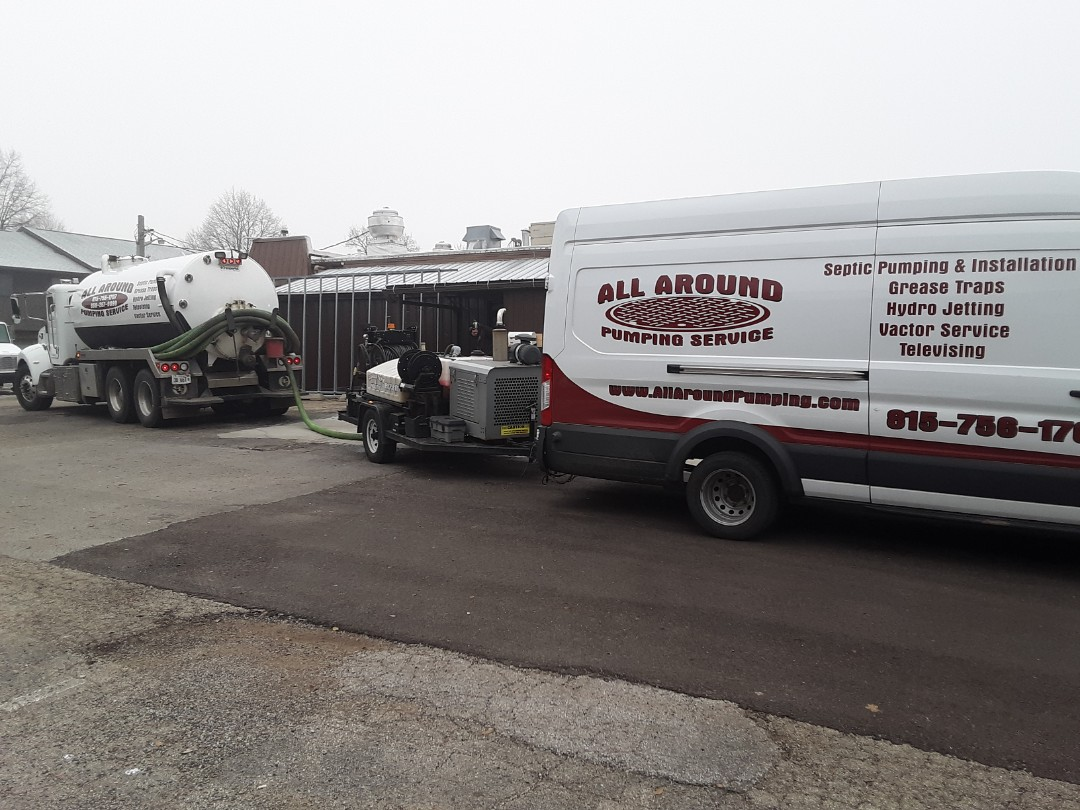 Pumping outside grease trap and hydrojetting lines
