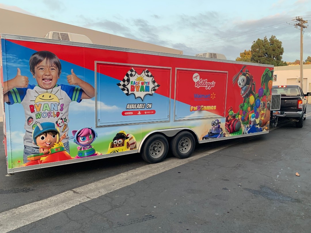 Ryan's World Trailer Wrap completed for the tour, on tour in time for there second show.  Good luck Ryan