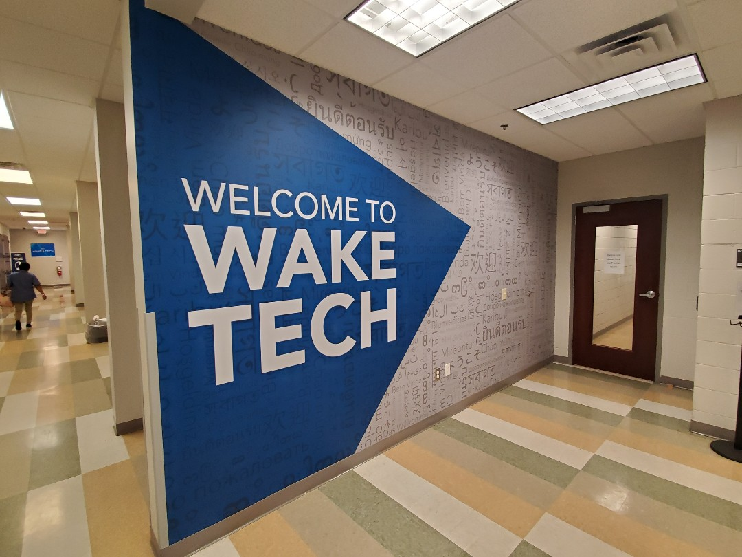 Raleigh, NC - Wake Tech community college gets a new entrance wall mural for their Raleigh location. Check out these wall graphics when you go there for your classes continuing education or your GED.