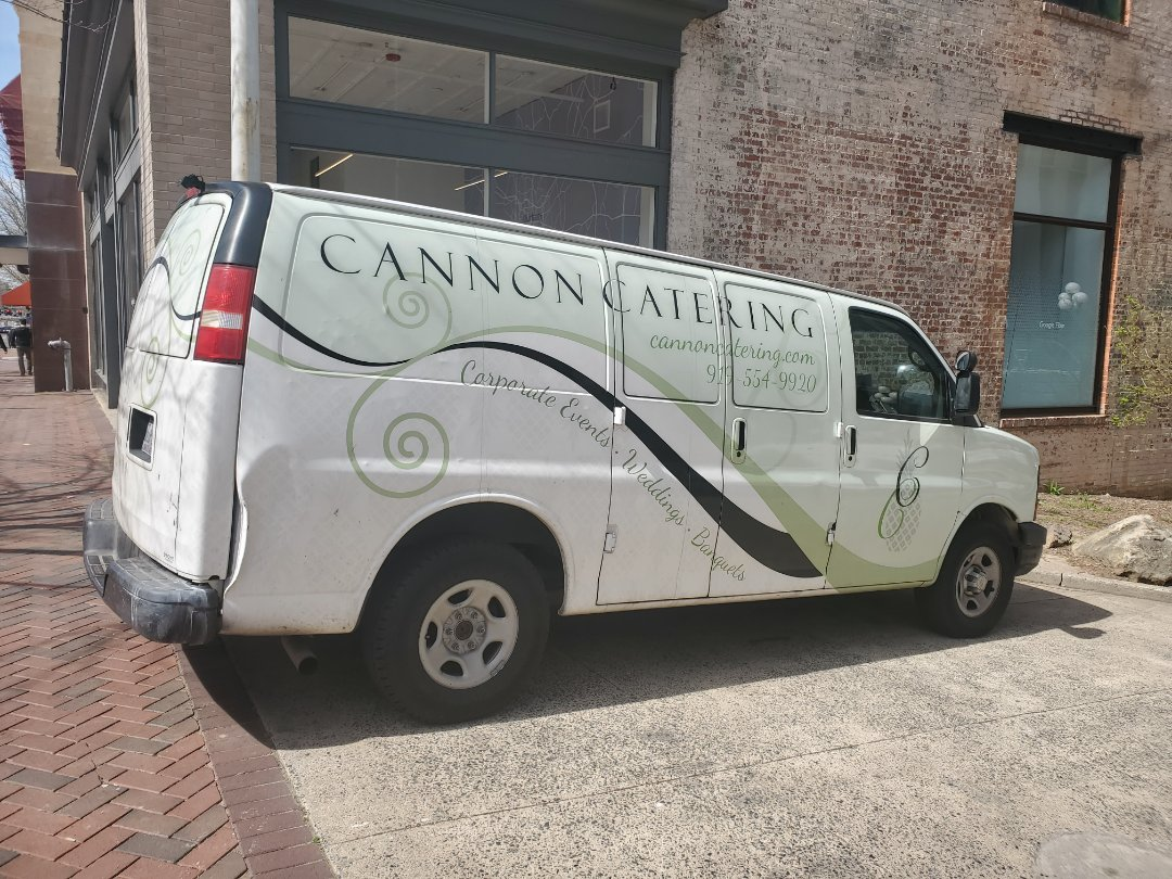 Van wraps in down town durham for catering company