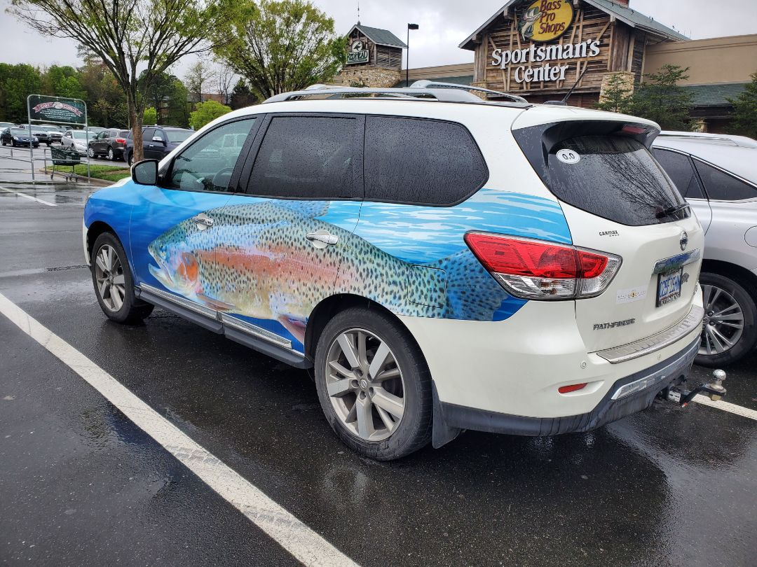 Oh, this car wrap still good to  be supporting the boating and fishing industries while we all struggle this time.  Check out the boat wrap we are working on.  Stay tuned