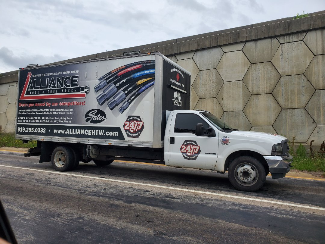 Truck wraps look great especially when they're on the road. Check out Alliance hose