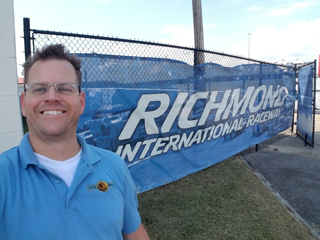 Richmond, VA - Dropping dropping off new stage scrims at the Richmond International motor Speedway for their concert series tomorrow night hope the weather is nice and they have a great turnout
