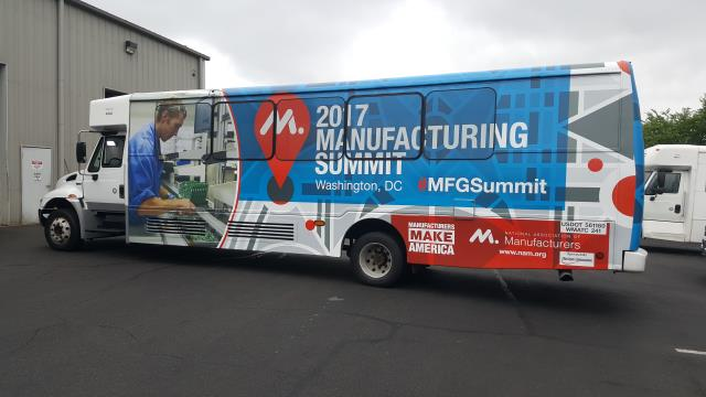 Washington, DC - 2017 Manufacturing Summit Trade show transit Bus wrapped for transportation to and from the conference. These were real eye catching bus wraps around DC for the event.