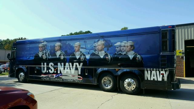Washington, DC - We have worked with all branches of the US Armed Forces. , and this Navy Bus Wrap is a fantastic example of our work for Uncle Sam.  These two Full Bus Wraps show the proud men of the US Navy on the graphics.These buses is Headquartered in Arlington and travels around the Country showing off this Full Wrap and our service women and men.