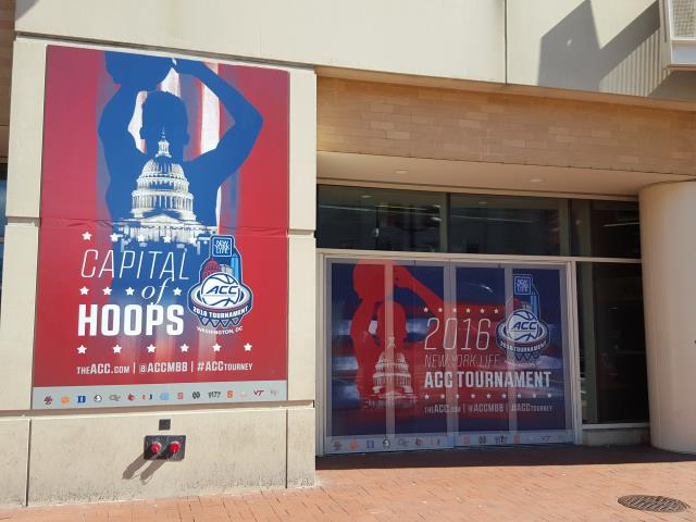Washington, DC - At the old Verizon center in 2017 the ACC tournament was held partially in DC. CWI install the graphics for this event.  The event graphics included see-through window film and rough texture graphics on the exterior stucco wall.