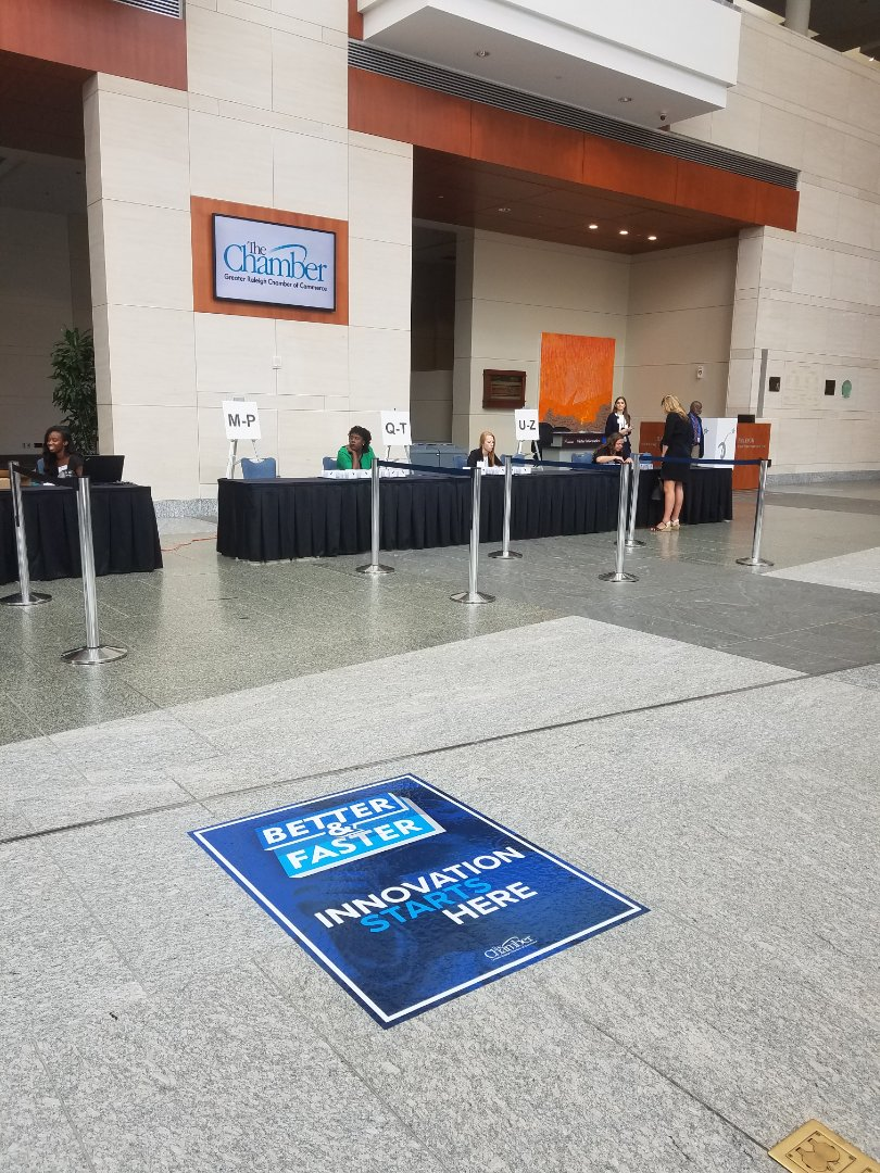 Raleigh, NC - Providing graphics for the Raleigh Chamber if Commerence Annual Meeting.  Tradeshow floor graphics are our speciality