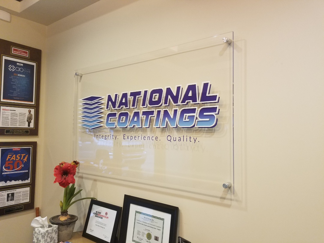 Raleigh, NC - Entrance signs that are acrylic and in this case final do a great job of showcasing professionalism for the company. Ask us how we can provide your shop with high-quality signage like this