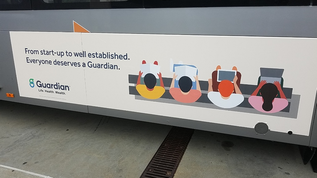 Raleigh, NC - Bus wraps for go Raleigh go triangle go Durham and go Chapel Hill look great on the side of the buses! These four Guardian Healthcare are sure to get noticed